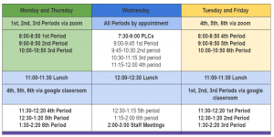 This is the weekly schedule for remote learning at Cheif Umtuch Middle school